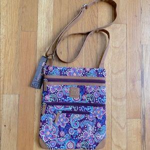 Quilted Lockport Plum Paisley Crossbody Travel Bag
